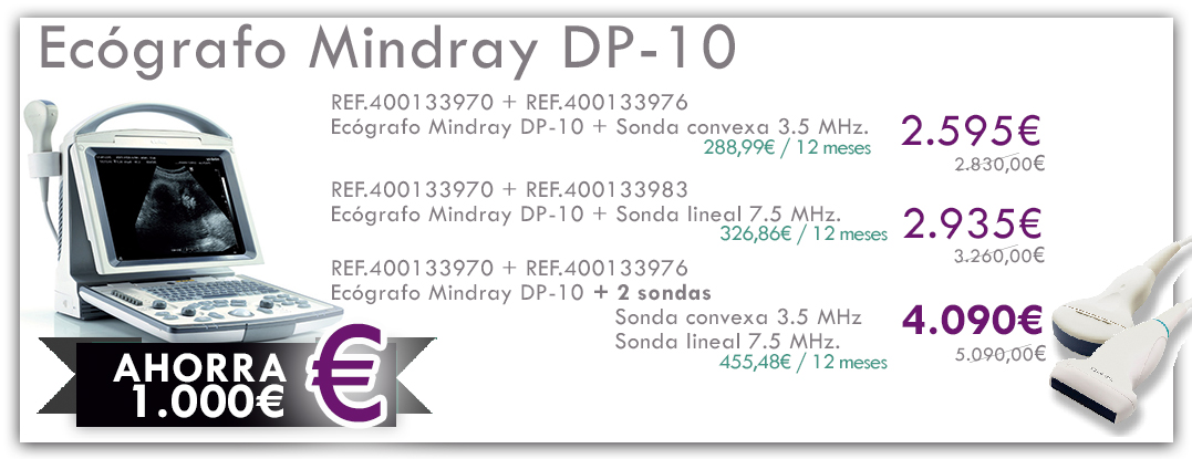 ecógrafo mindray dp-10 y sonda convexa y sonda lineal