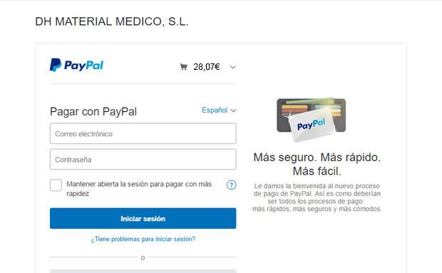 Formas de pago dh material m dico paypal blog tienda for Material sanitario online