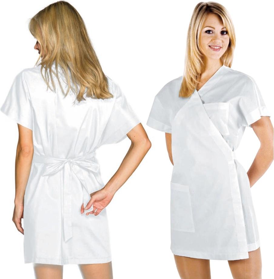 Kimono Cruzado 65% polyester, 35% algodón, 115gr/m2. Color blanco ...