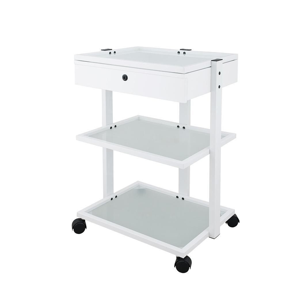 Carrito Estructura Met Lica Color Blanco 1 Caj N Y 3 Estantes  # Muebles Fisioterapia