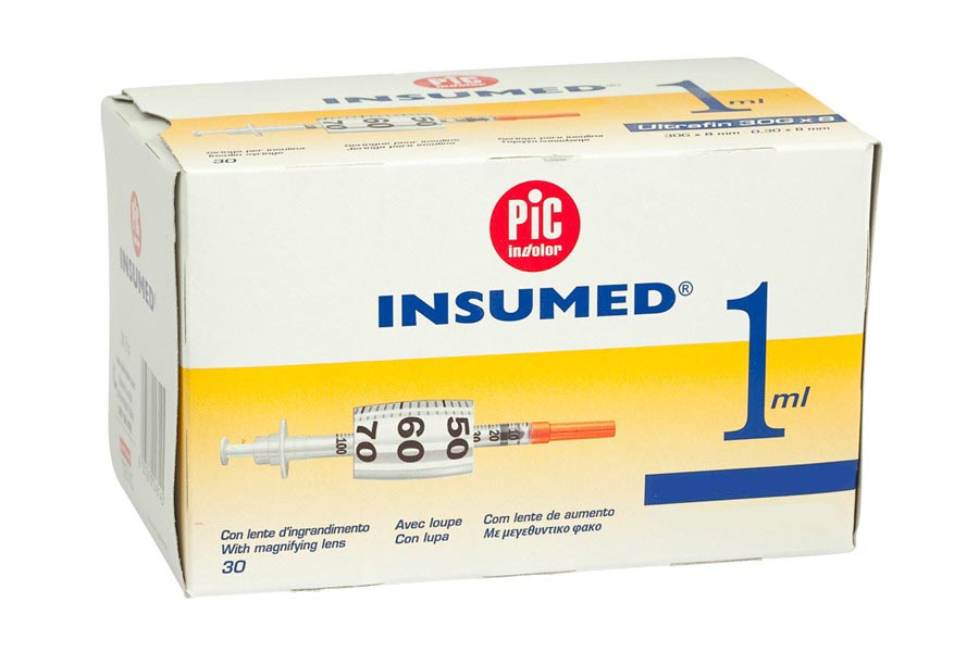Jeringas Insumed 1 ml insulina con aguja 30G 0,3 x 8 mm. Caja de 30